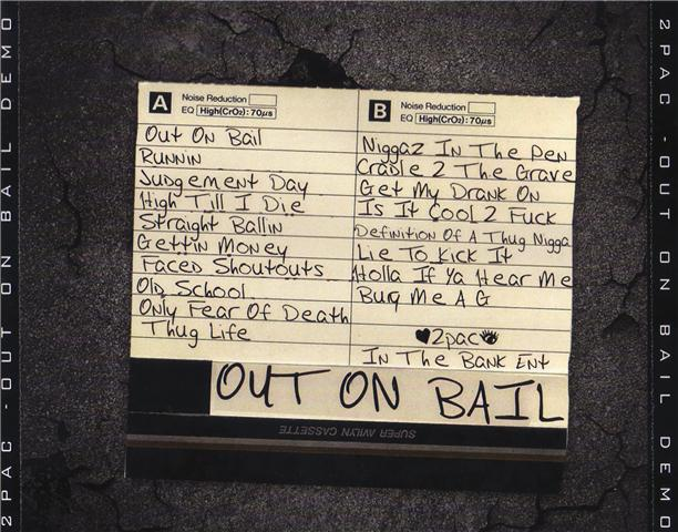 Out On Bail Demo Cover back tracklist