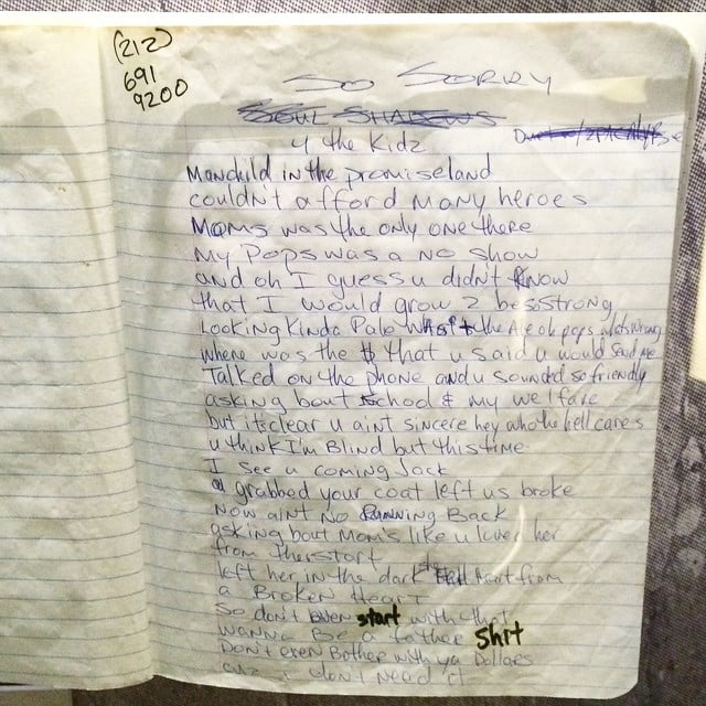 Tupac Shakur's original lyrics for 'Papa's Song' originally called 'So Sorry 4 The Kids'