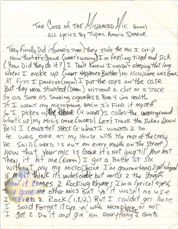 The Case of the Misplaced Mic Handwritten Lyric