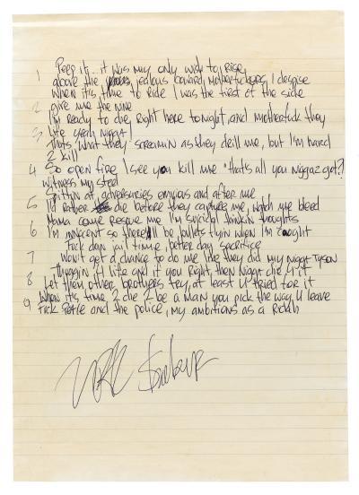 Ambitionz Az A Ridah / Page 2, Tupac's Handwritten Lyrics