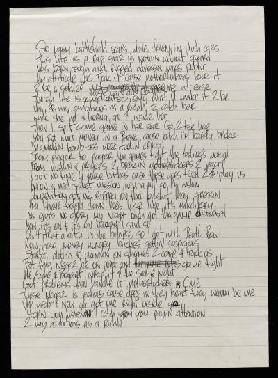 Ambitionz Az A Ridah - Tupac Handwritten Lyrics