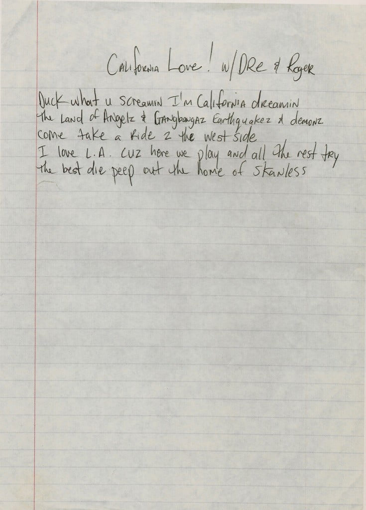 California Love (Unused-Unheard Verse) Tupac's Handwritten Lyrics