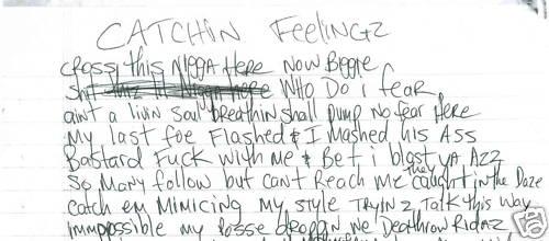 Catchin Feelingz - Tupac's Handwritten Lyrics
