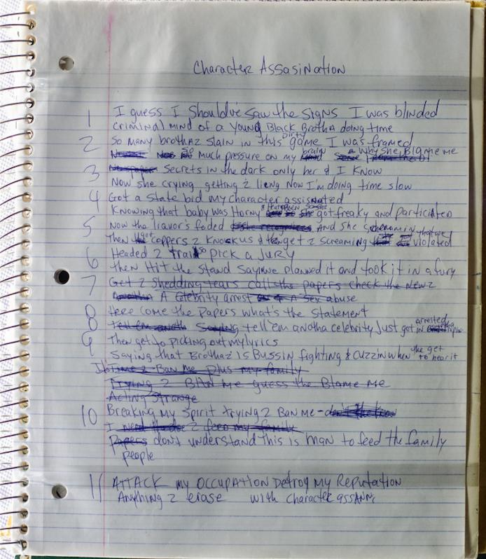 Character Assassination (Holla At Me) / Tupac's Handwritten Lyrics