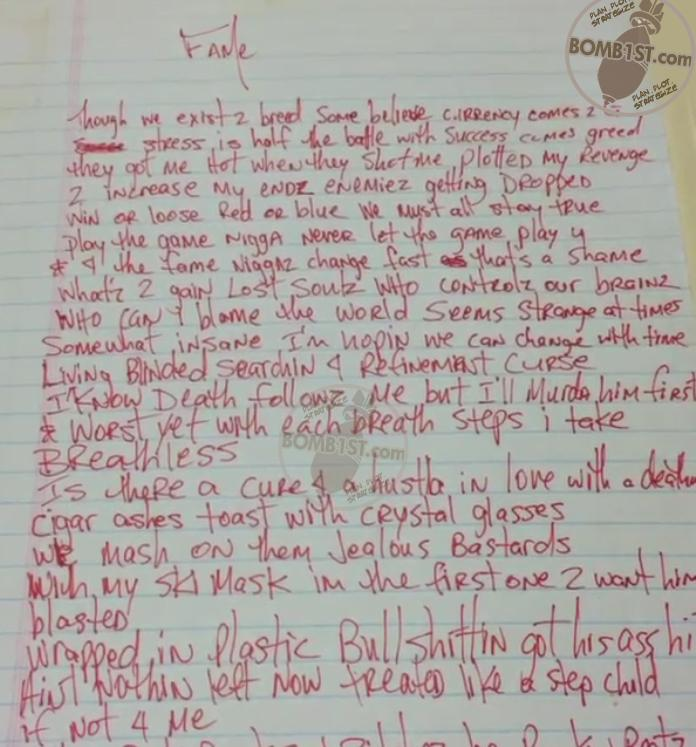 Fame - Tupac's Handwritten Lyrics
