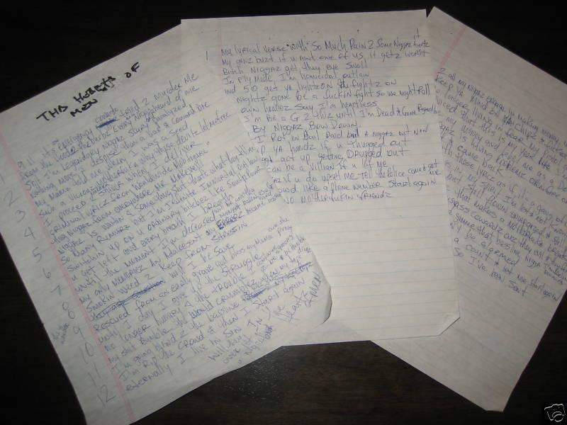 Heartz Of Men (All Pages) Tupac's Handwritten Lyrics