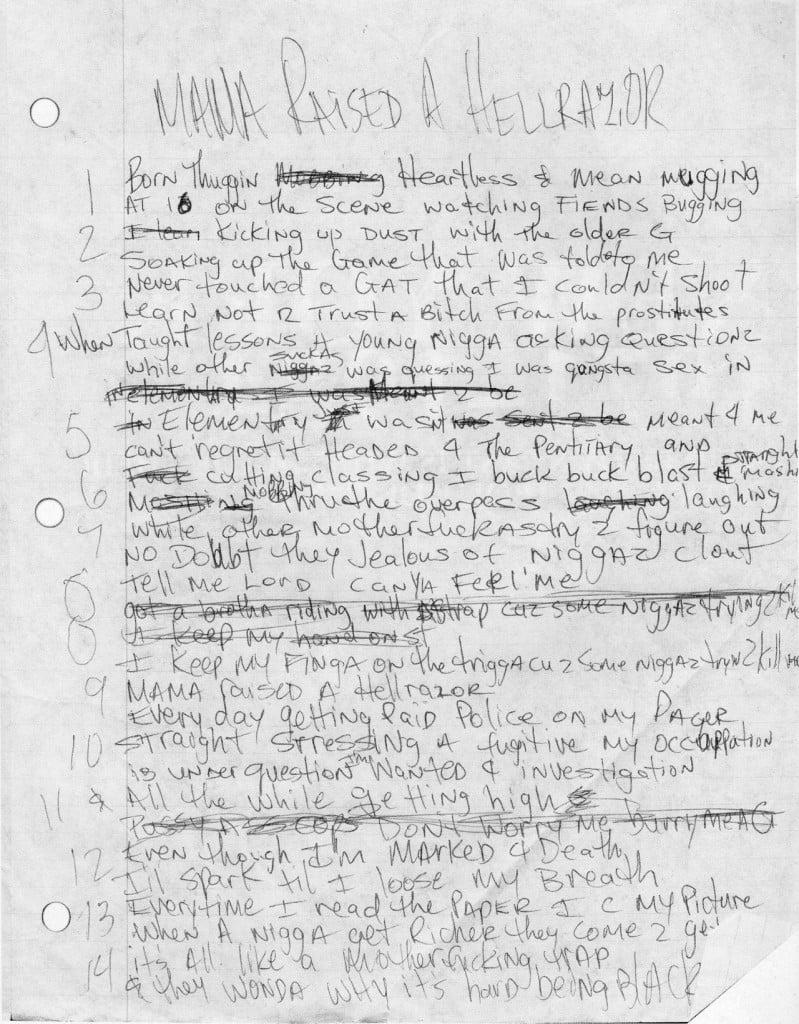 Mama Raised A Hellrazor - Tupac's Handwritten Lyrics