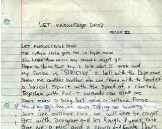 Let Knowledge Drop (Verse 3)  Tupac Handwritten Lyrics