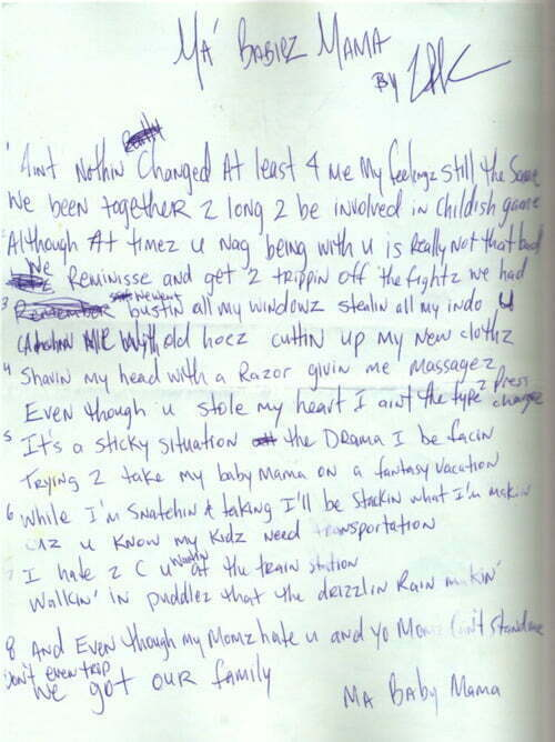 Ma' Babiez Mama 2Pac's Handwritten Lyrics