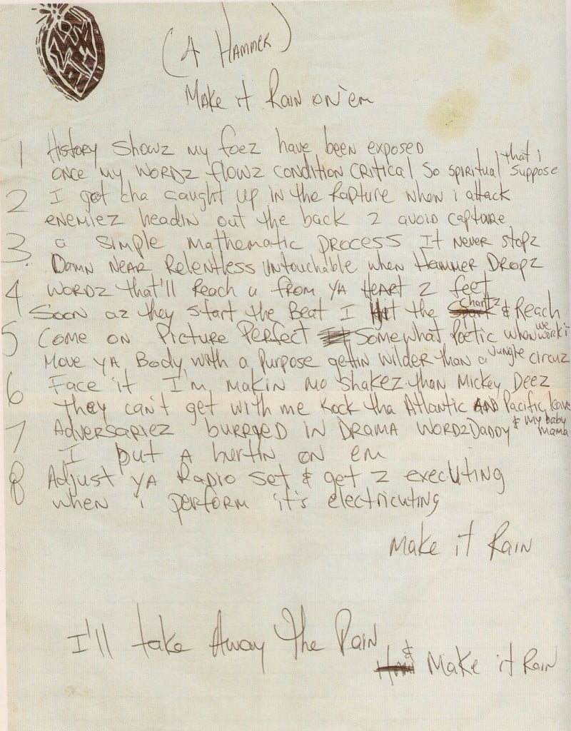 Make It Rain On Em (4 Hammer) - Tupac's Handwritten Lyrics