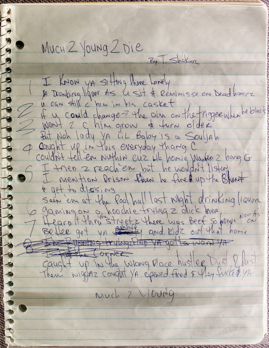 Much 2 Young 2 Die Unreleased Tupac's song - Handwritten Lyrics