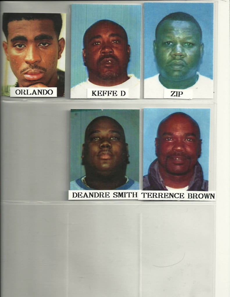 Mugshots of the five alleged passengers of the white Cadillac.