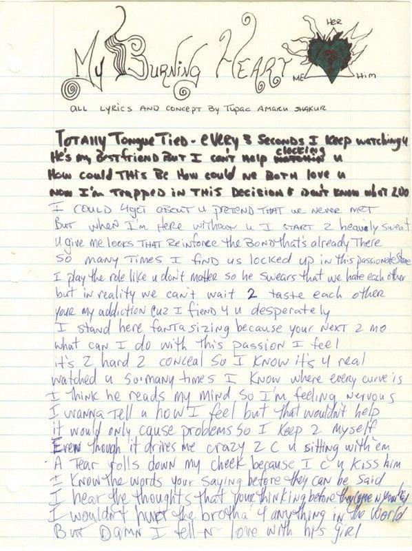 My Burning Heart  - Tupac's Handwritten Lyrics