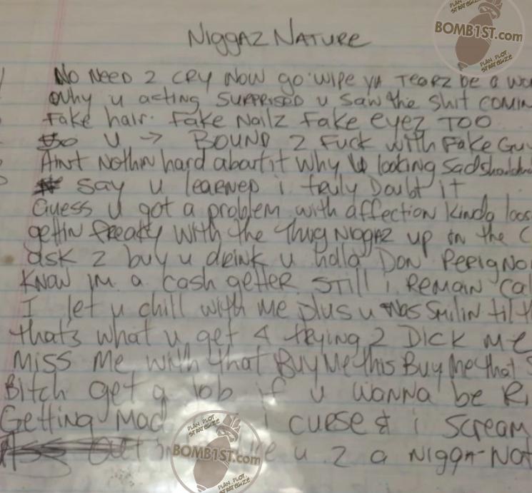 Niggaz Nature -  Tupac's Handwritten Lyrics