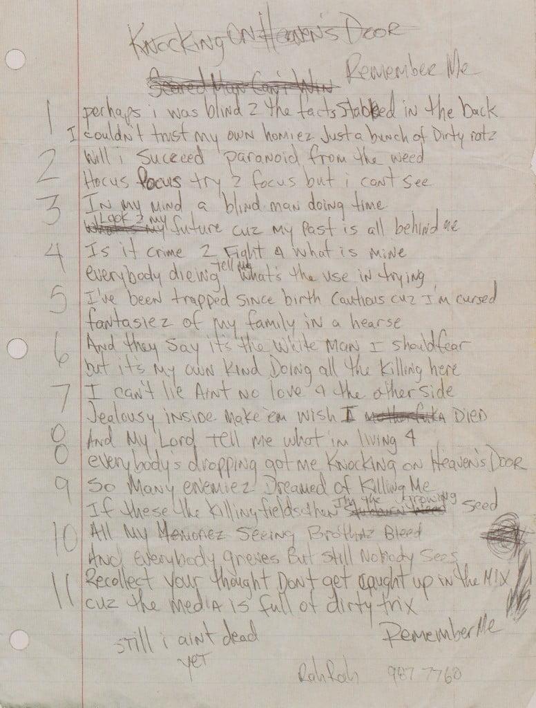Remember Me (Only God Can Judge Me) - Tupac's Handwritten Lyrics
