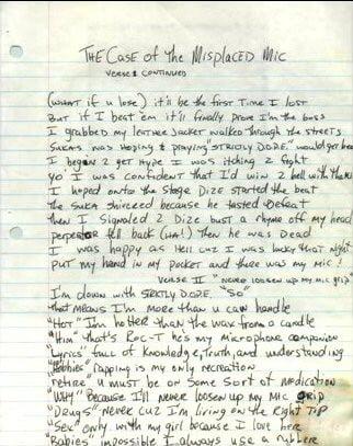 The Case Of The Misplaced Mic (Verse 1 Part 2) Tupac's Handwritten Lyrics