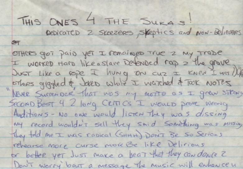 This Ones 4 The Sukas - Tupac's Handwritten Lyrics