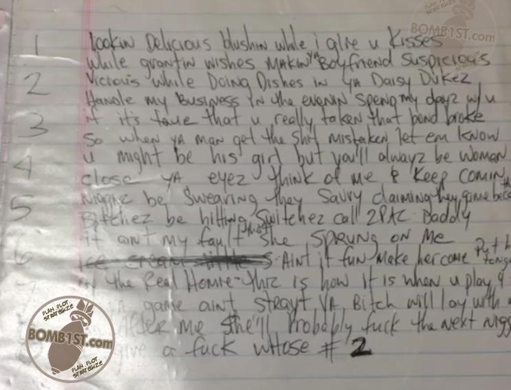 Too Late Playa - Tupac's Handwritten Lyrics