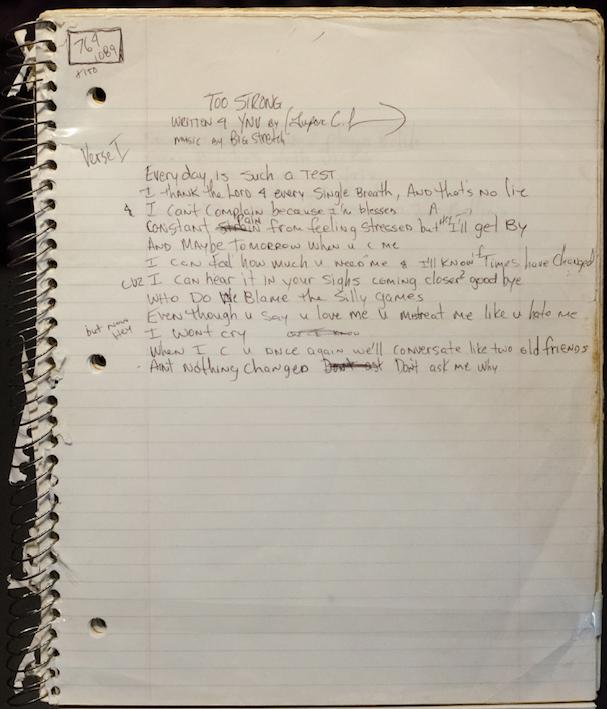 Too Strong (Written For YN-Vee) - Tupac's Handwritten Lyrics
