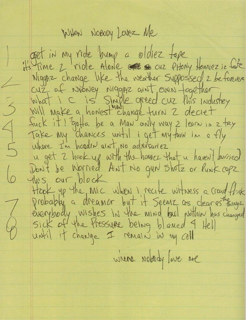 When Nobody Loves Me - Tupac's Handwritten Lyrics