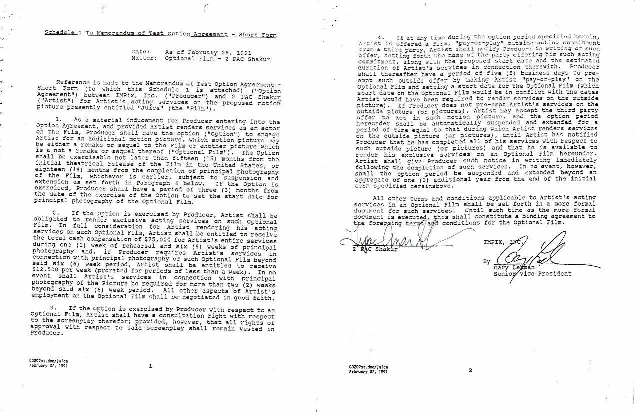 1991-02-27 2Pac signs a contract to work on Juice