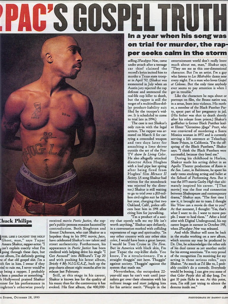 1993-10-28 Tupac Interview With Chuck Philips (Rolling Stone Magazine)