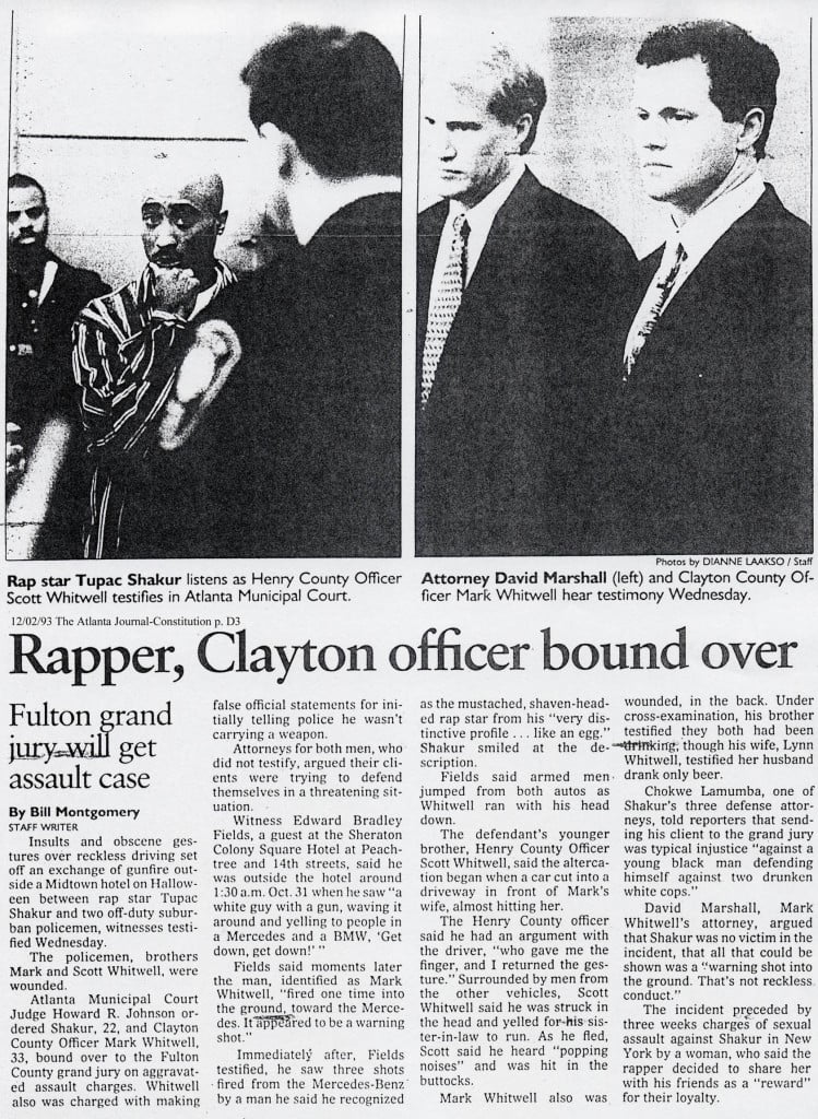 1993-10-28 Tupac listens as Henry Country Officer Scott Whitwell testifies in Atlanta Municipal Court.
