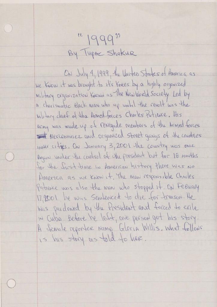 1999 - Tupac's Handwritten Miscellaneous