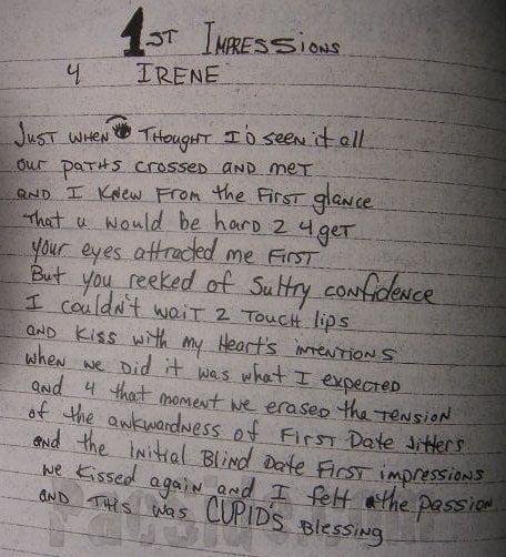 1st Impressions 4 Irene - Tupac's Handwritten Poem