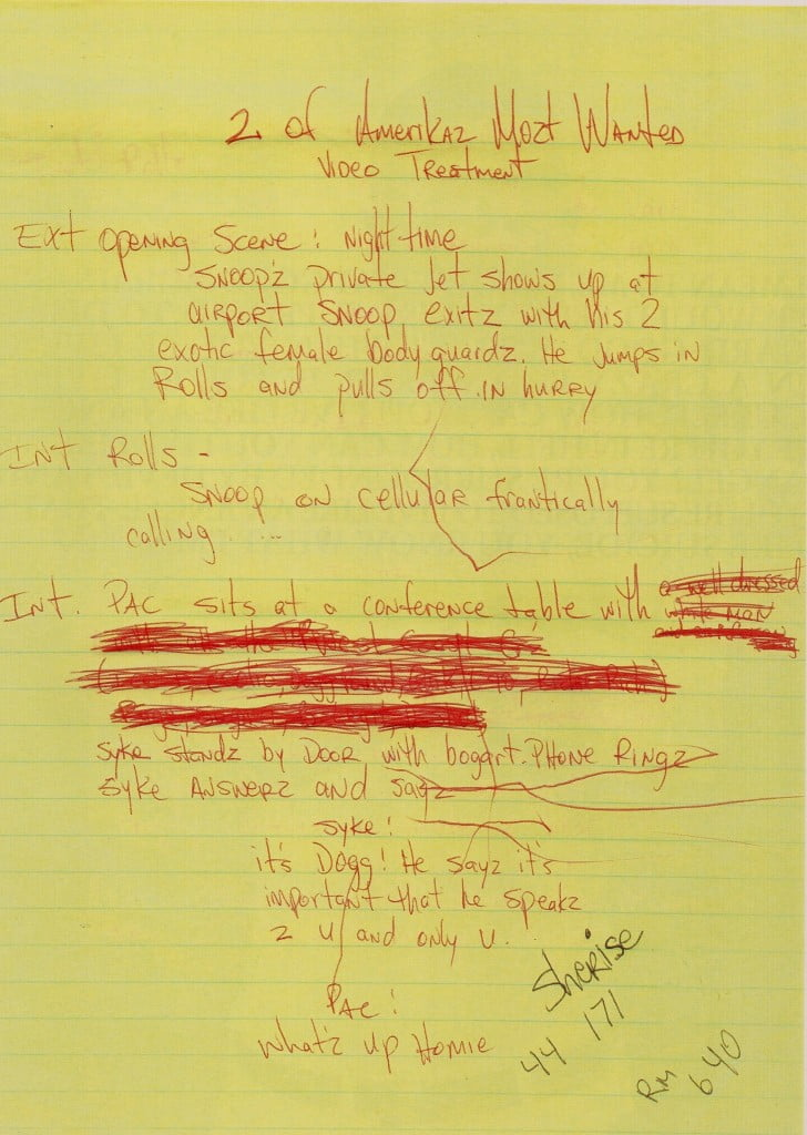2 of Amerikaz Most Wanted Music Video Concept - Tupac's handwritten Miscellaneous