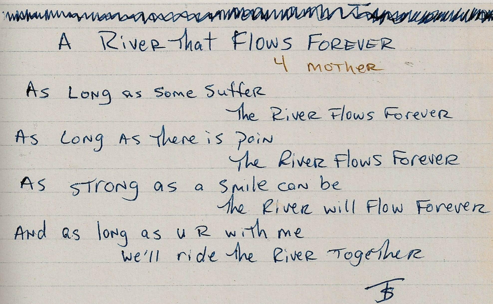 A River That Flows Forever (4 Mother) - Tupac's Handwritten Poem