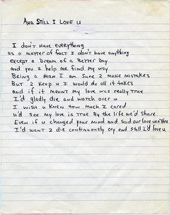 And Still I Love U - Tupac's Handwritten Poem