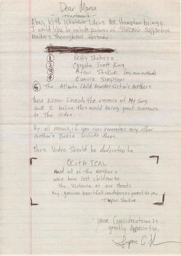 Dear Mama (Music Video Concept) - Tupac's Handwritten Miscellaneous