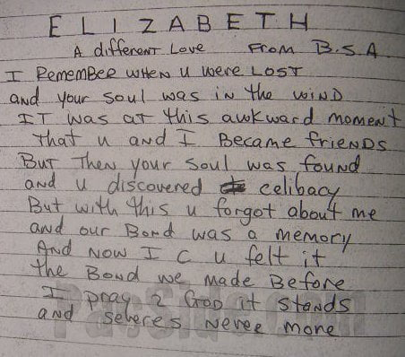 Elizabeth- A Different Love (From B.S.A.) - Tupac's Handwritten Poem