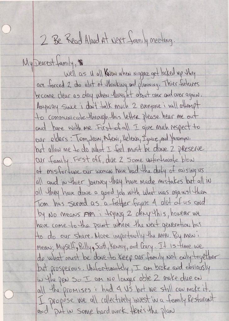Family Meeting Letter - Tupac's Handwritten Letter