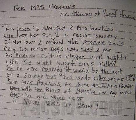 For Mrs. Hawkins (In Memory of Yusef Hawkins) - Tupac's Handwritten Poem