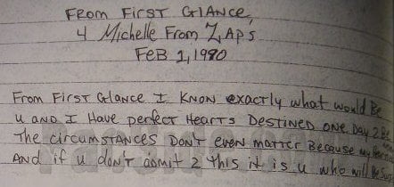 From First Glance (4 Michelle From Zap's Feb 1, 1990) - Tupac's Handwritten Poem