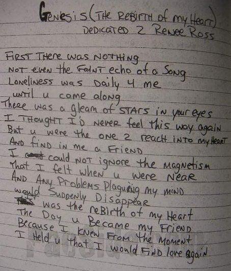 Genesis (The Rebirth of My Heart) Dedicated 2 Renee Ross - Tupac's Handwritten Poem