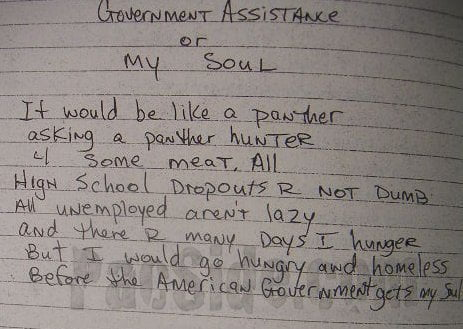 Government Assistance or My Soul - Tupac's Handwritten Poem