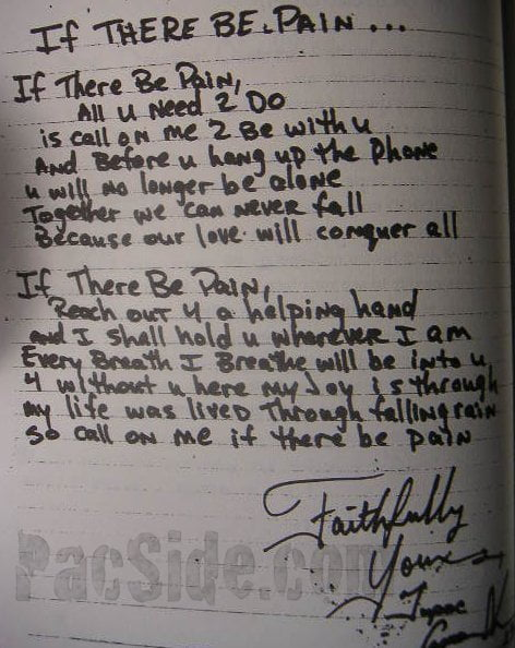 If There Be Pain...  -Tupac's Handwritten Poem