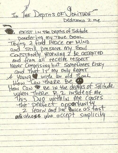 In the Depths of Solitude Dedicated 2 Me - Tupac's Handwritten Poem