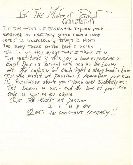 In the Midst of Passion - Tupac's Handwritten Poem