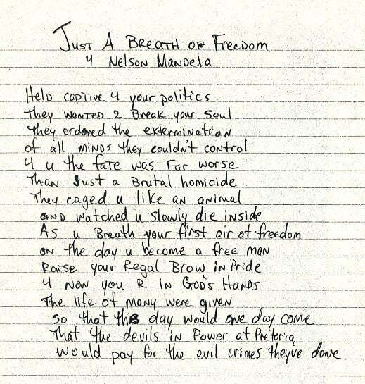 Just a breath of freedom 4 Nelson Mandela - Tupac's Handwritten Poem