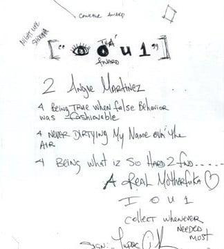 Letter To Angie Martinez (I O U 1)- Tupac's Handwritten Letter