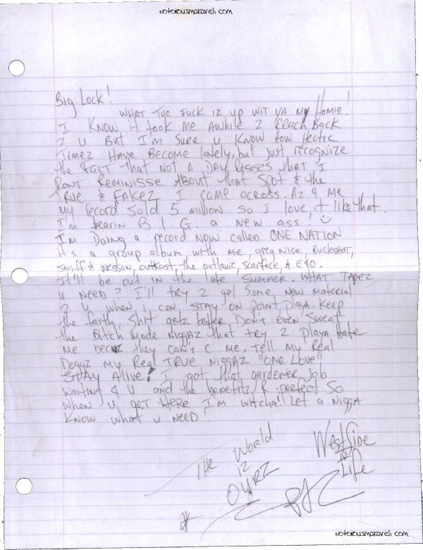 Letter To Big Lock- Tupac's Handwritten Letter