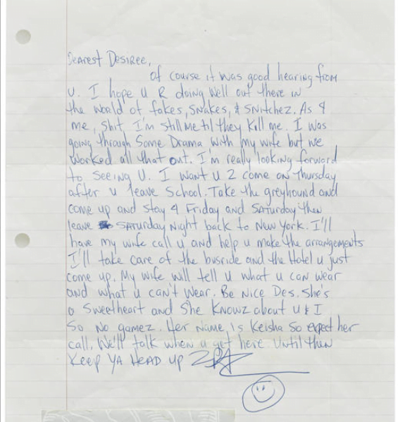 Letter To Desiree Smith (July 16, 1995) - Tupac's Handwritten Letter