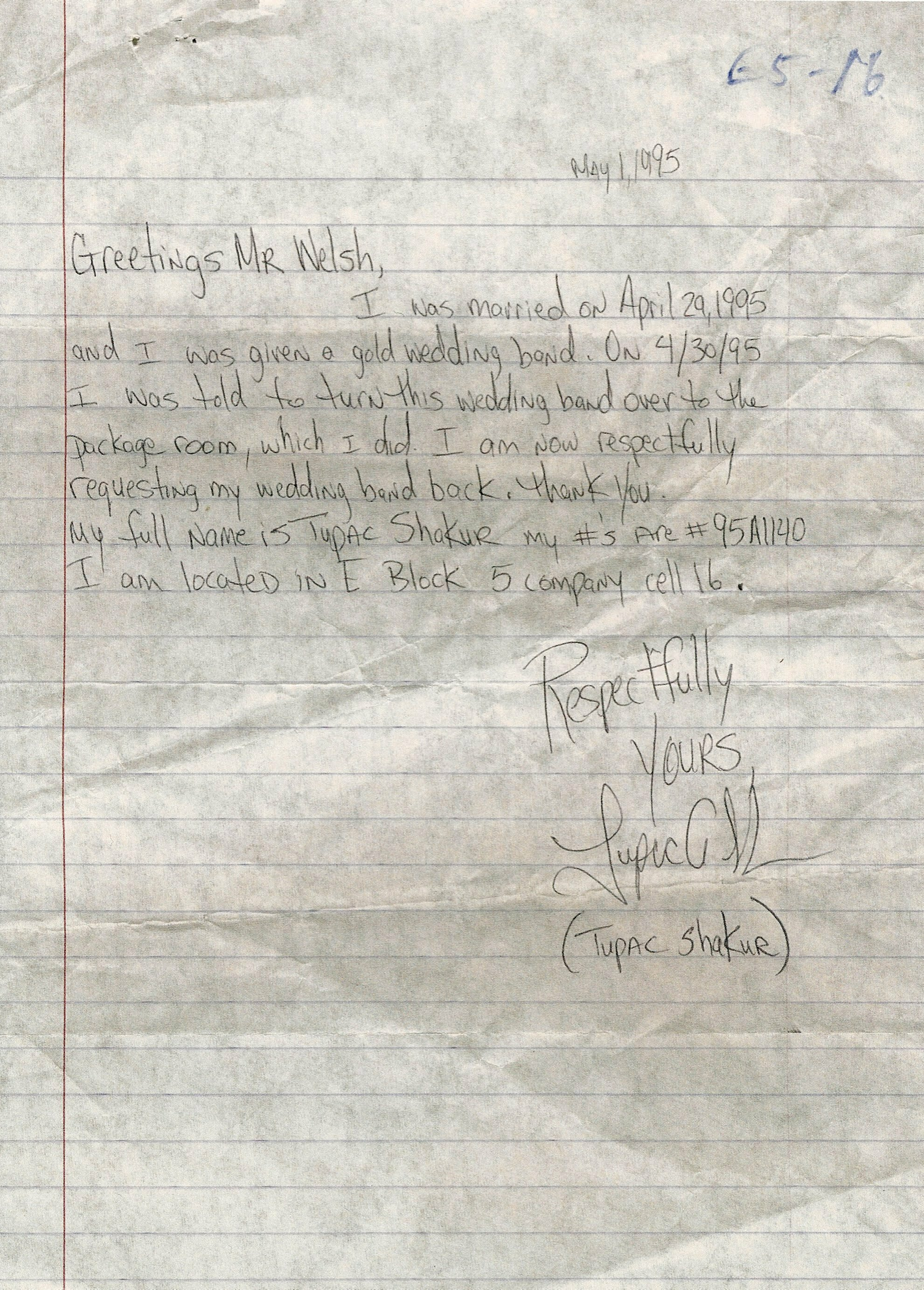 Letter To Mr Welsh Tupacs Handwritten Letter 2pac Legacy