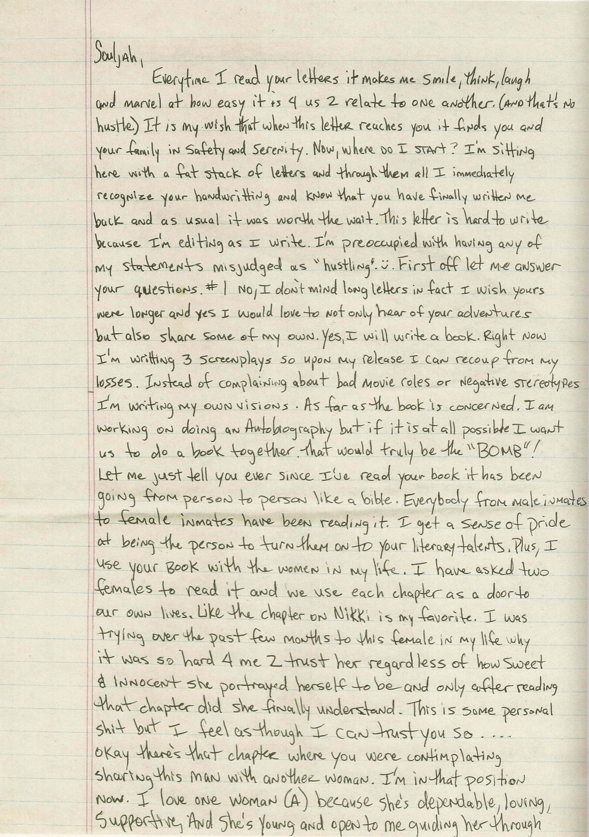 Letter To Sista Souljah (Page 1 Of 3)  - Tupac's Handwritten Letter