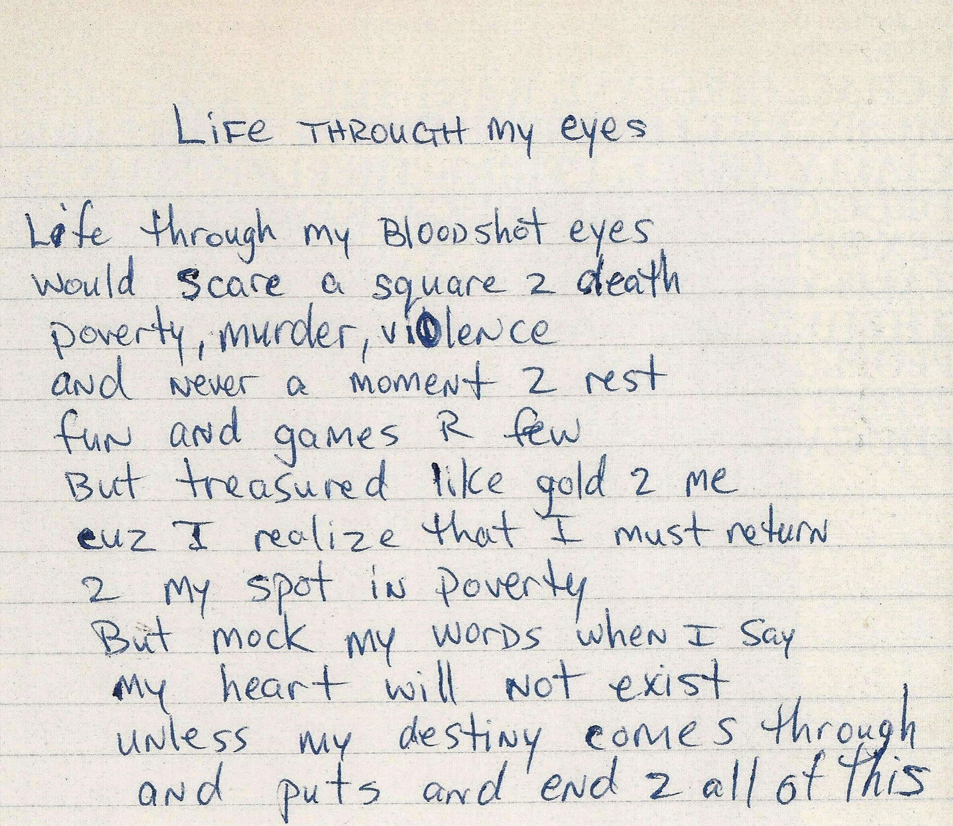 Life Through My Eyes  - Tupac's Handwritten Poem