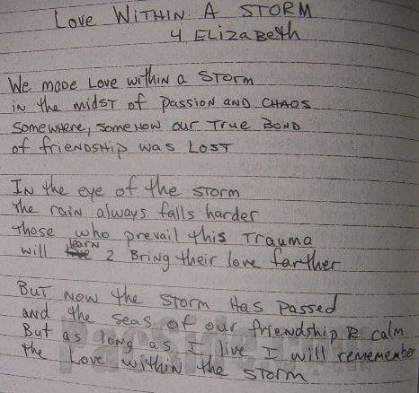 Love Within a Storm (4 Elizabeth) - Tupac's Handwritten Poem